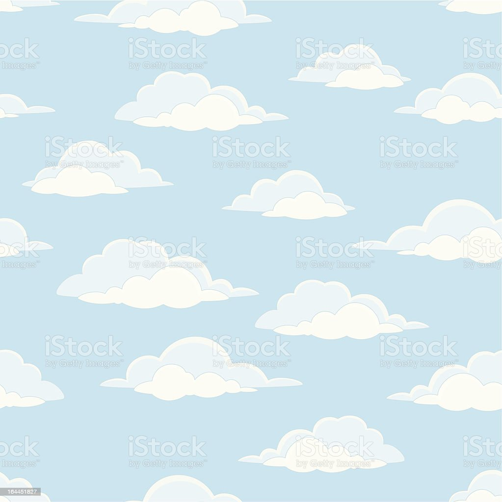 Sky with clouds, seamless vector art illustration