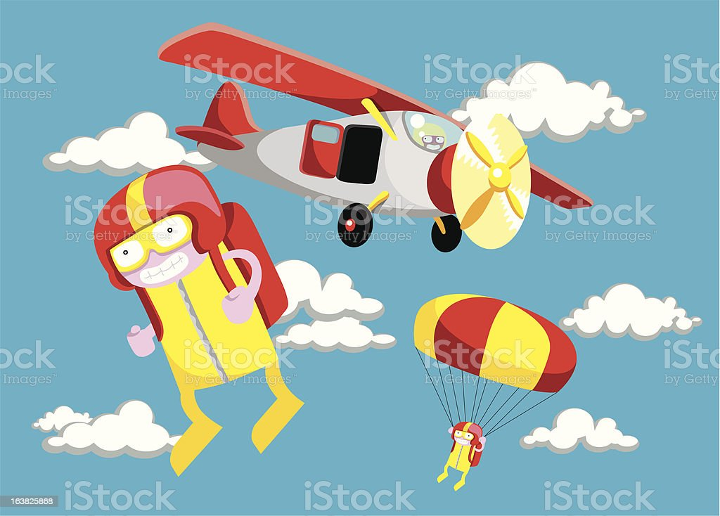 Skydivers royalty-free stock vector art