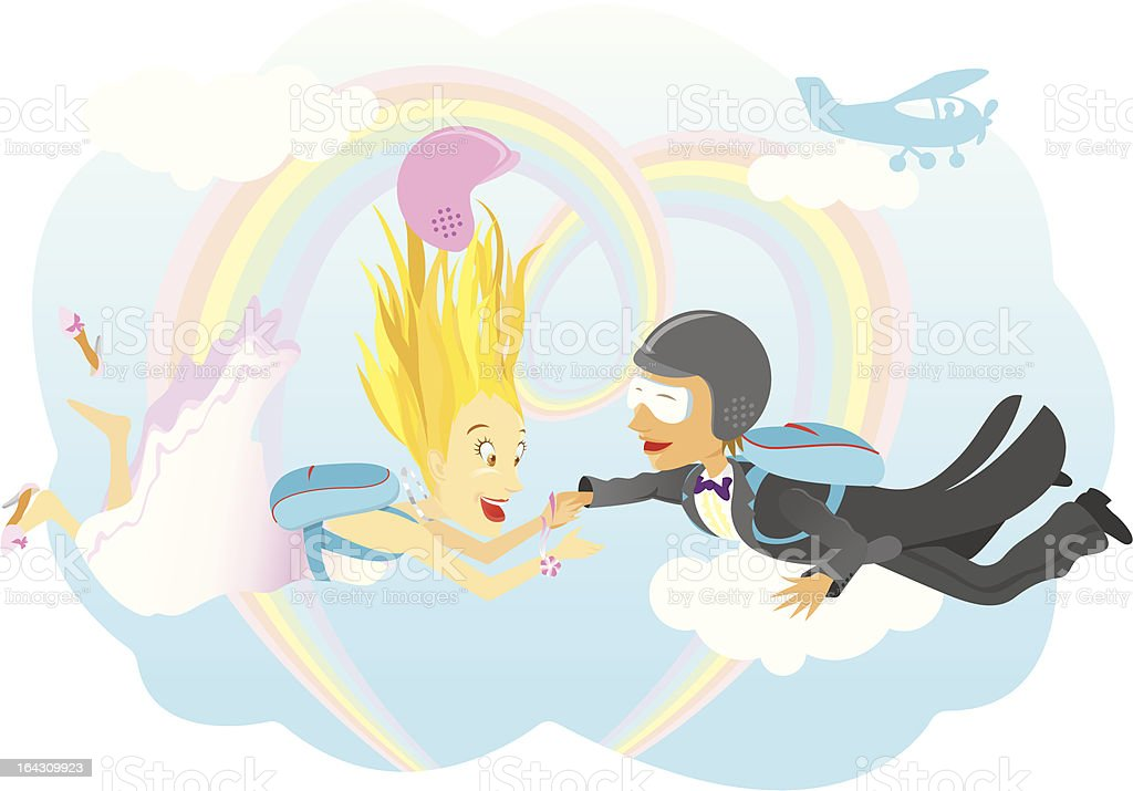 Skydiving Marriage royalty-free stock vector art