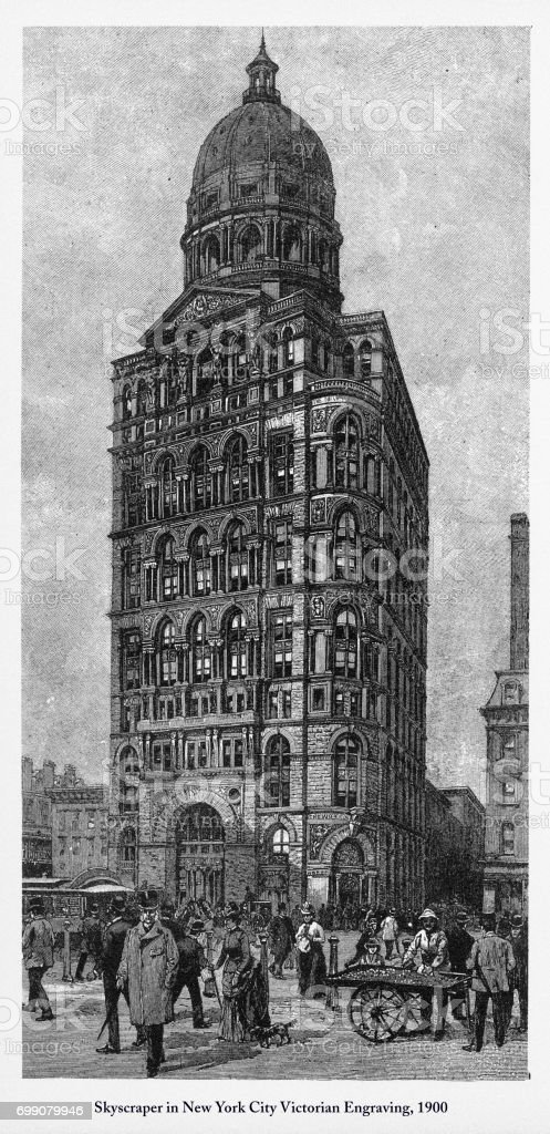 Skyscraper in New York City Victorian Engraving, 1900 vector art illustration