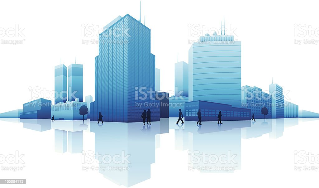 Skyscrapers in a city royalty-free stock vector art