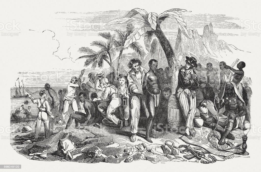Slave market on the African coast, wood engraving, published 1855 vector art illustration