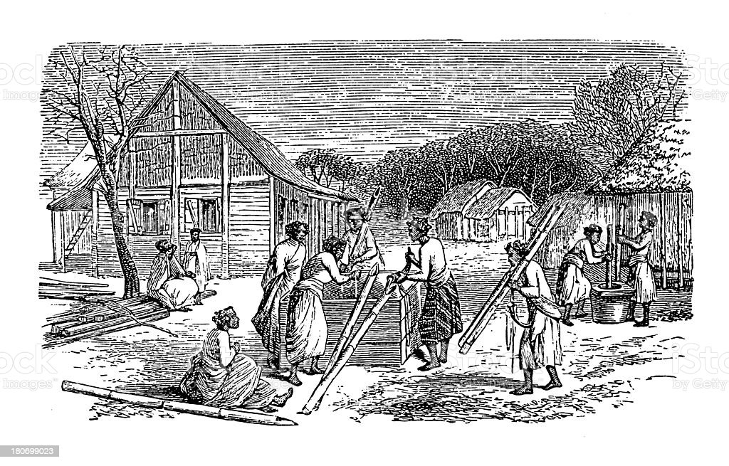 Slaves in Toamasina (antique wood engraving) royalty-free stock vector art