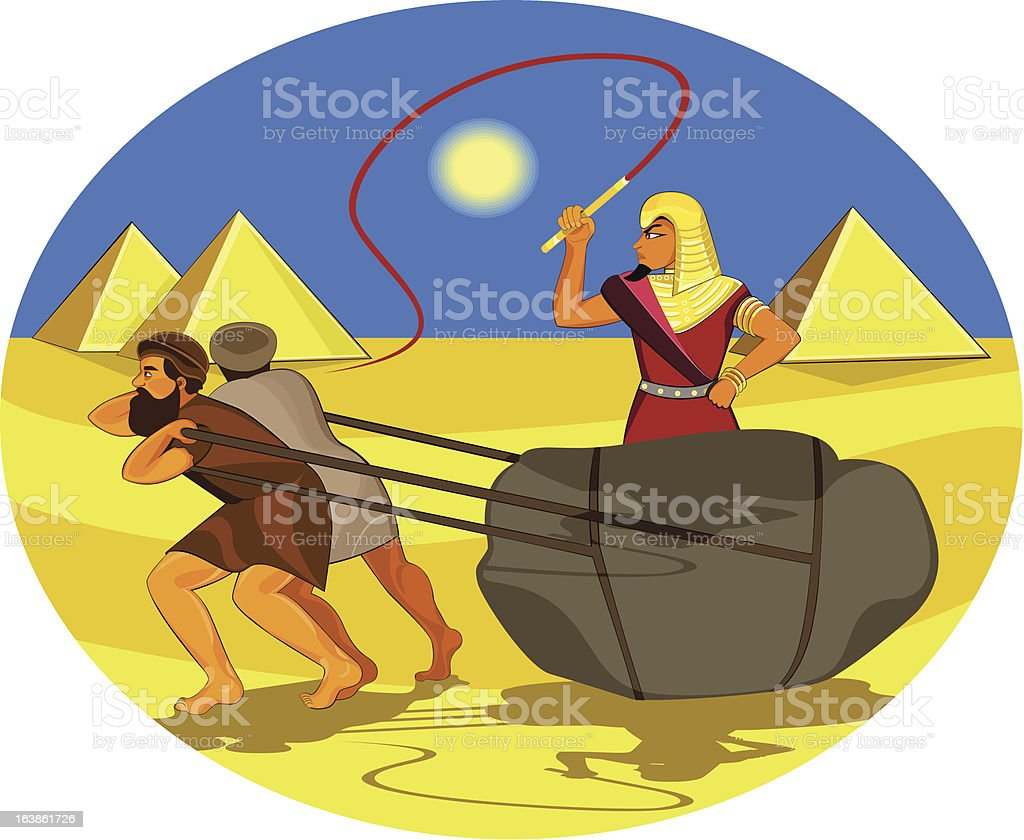 Slaves pulling rock vector art illustration
