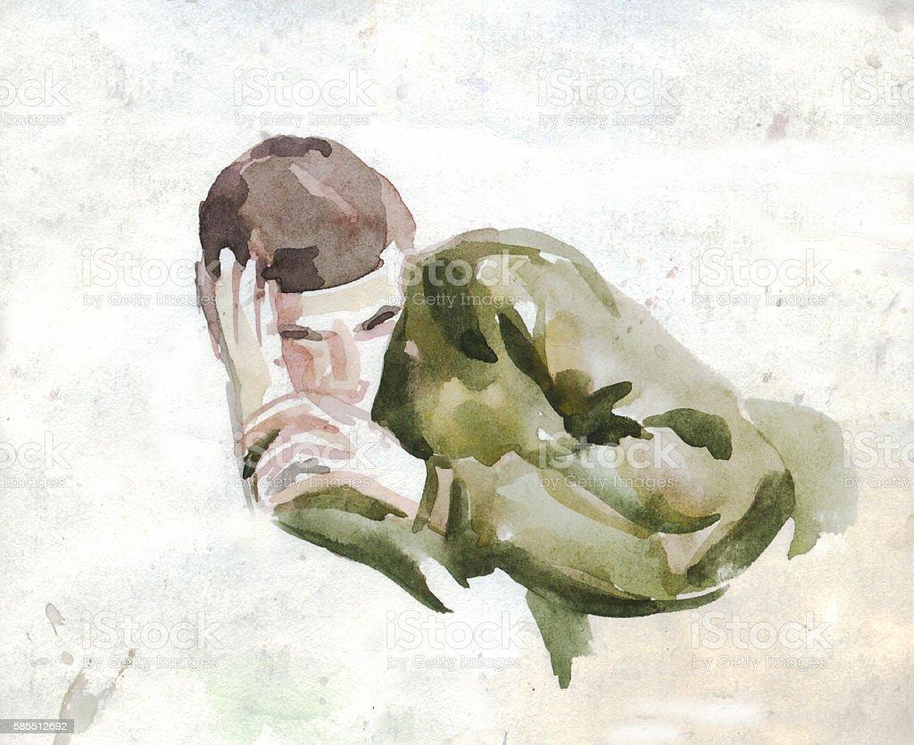 Sleeper . Watercolor sketch vector art illustration