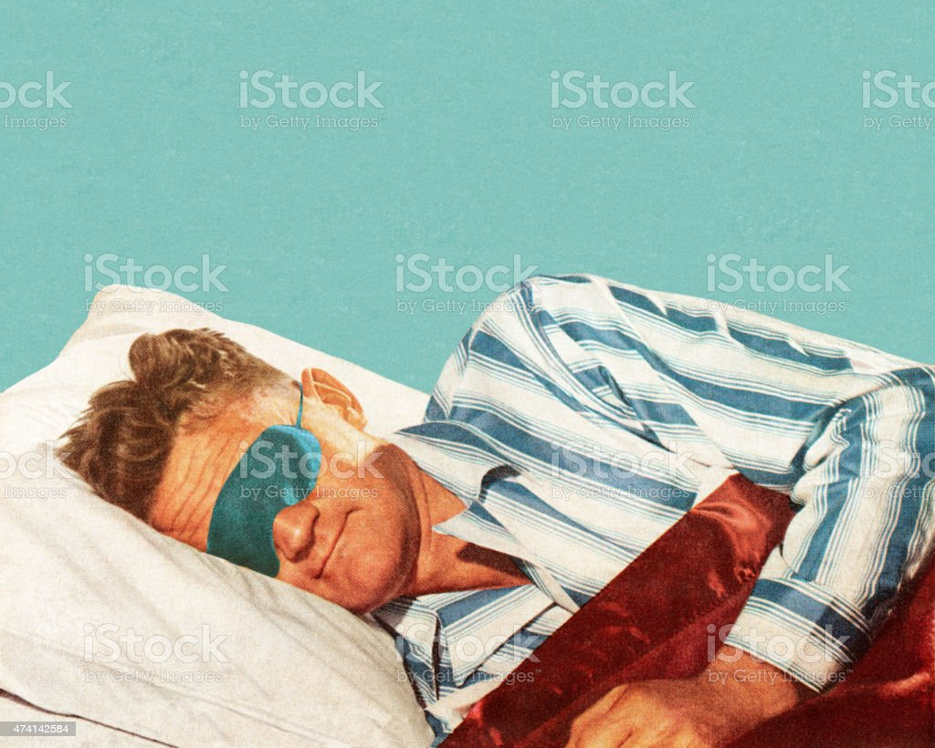Sleeping Man Wearing Eye Mask vector art illustration