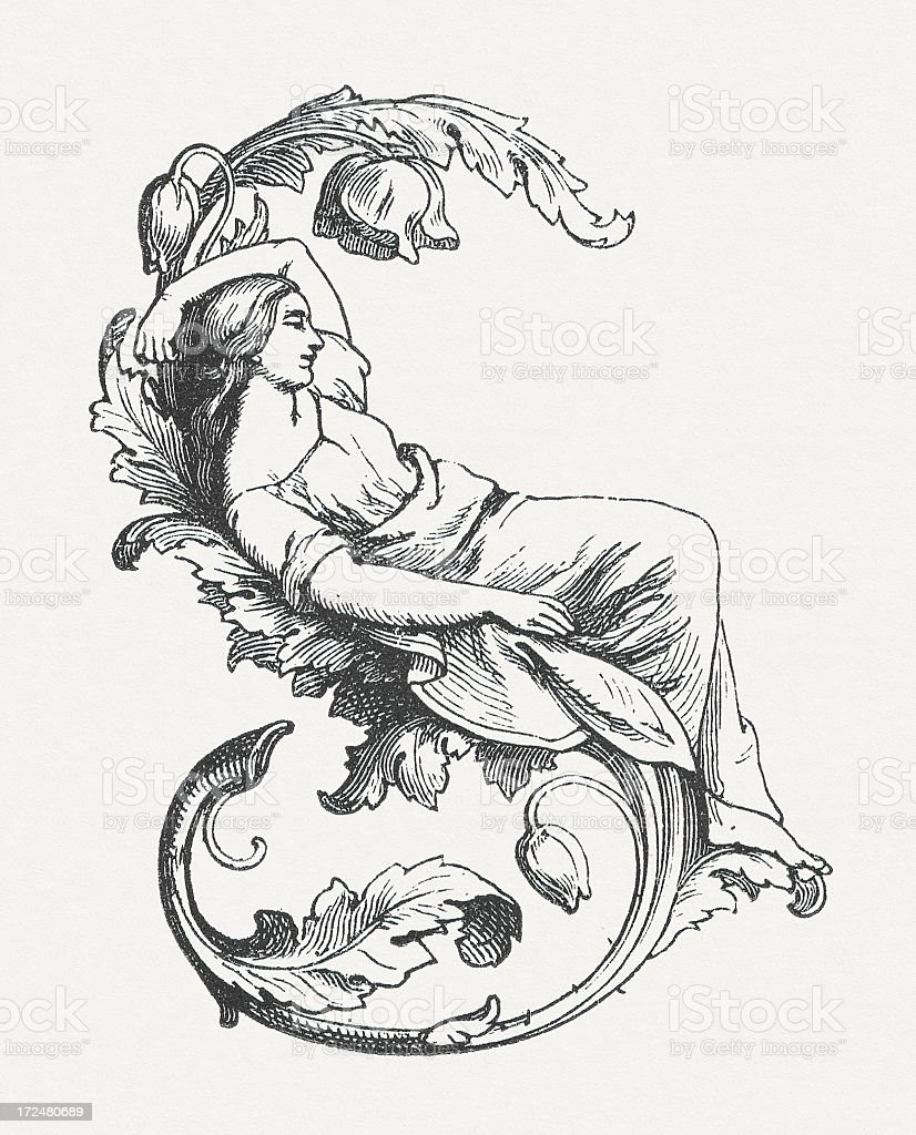 Sleeping woman, ornament, initial letter, wood engraving, published in 1871 royalty-free stock vector art