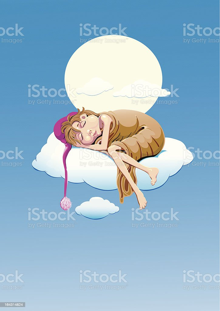 Sleepy boy vector art illustration