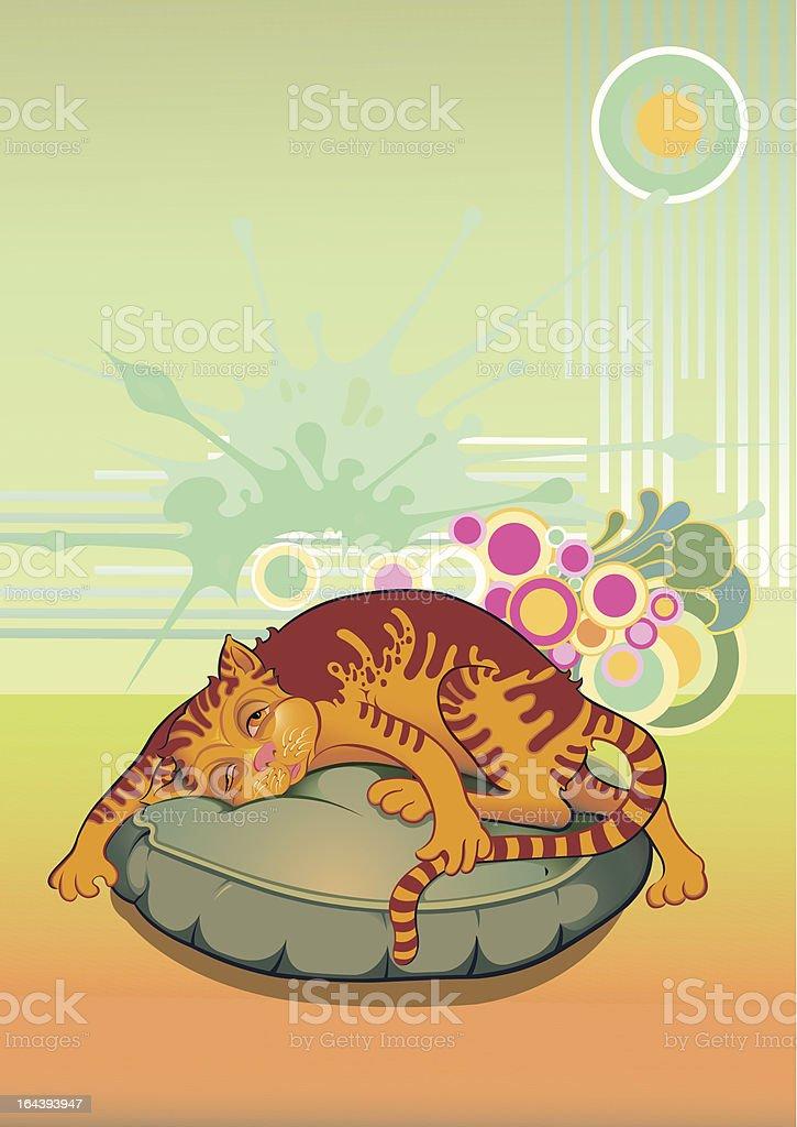 Sleepy cat vector art illustration