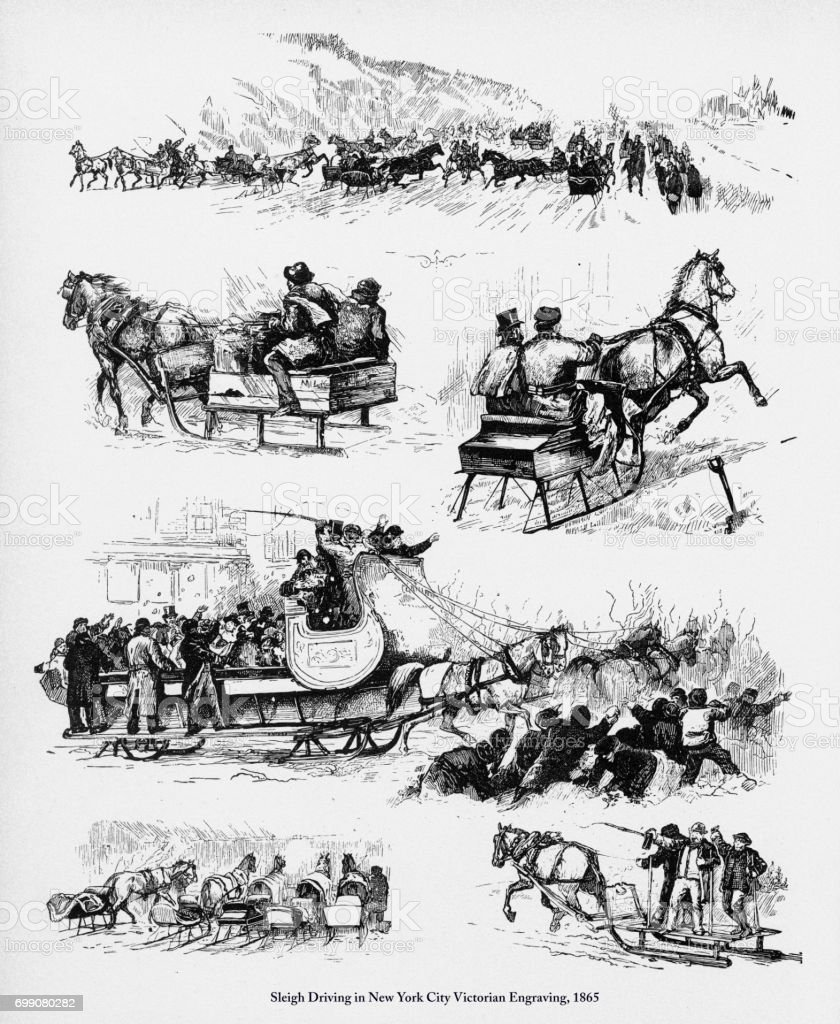 Sleigh Driving in New York City Victorian Engraving, 1865 vector art illustration