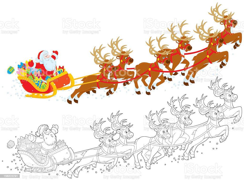 Sleigh of Santa taking off royalty-free stock vector art