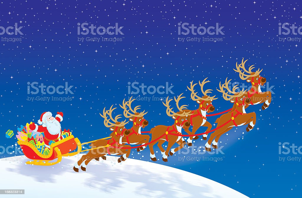 Sleigh of Santa taking off in the night sky royalty-free stock vector art