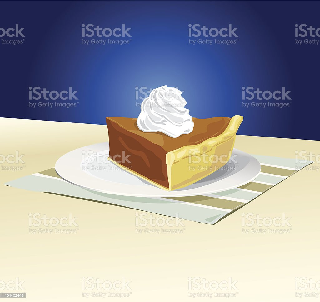 Slice of Pumpkin Pie with Whipped Cream royalty-free stock vector art
