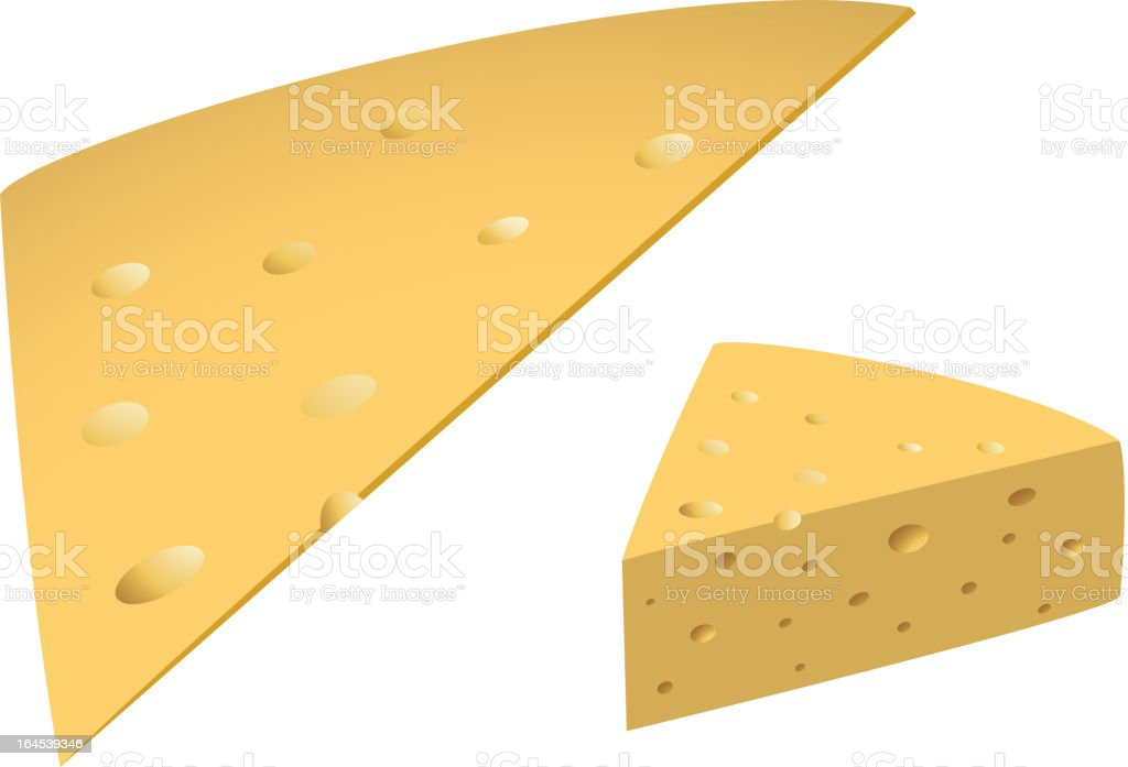 Slices of cheese vector art illustration