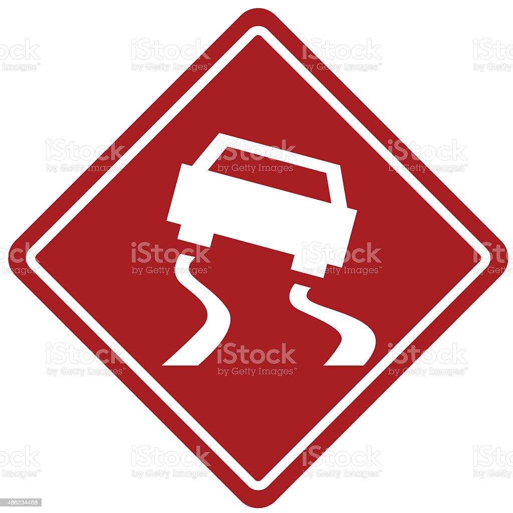 slippery roads icon vector art illustration