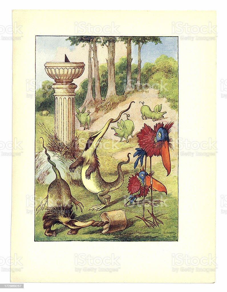 Slithy Toves illustration, (Alice's Adventures in Wonderland) royalty-free stock vector art