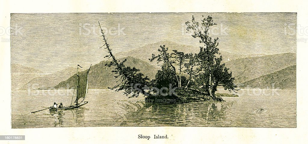 Sloop Island, Lake George, New York royalty-free stock vector art