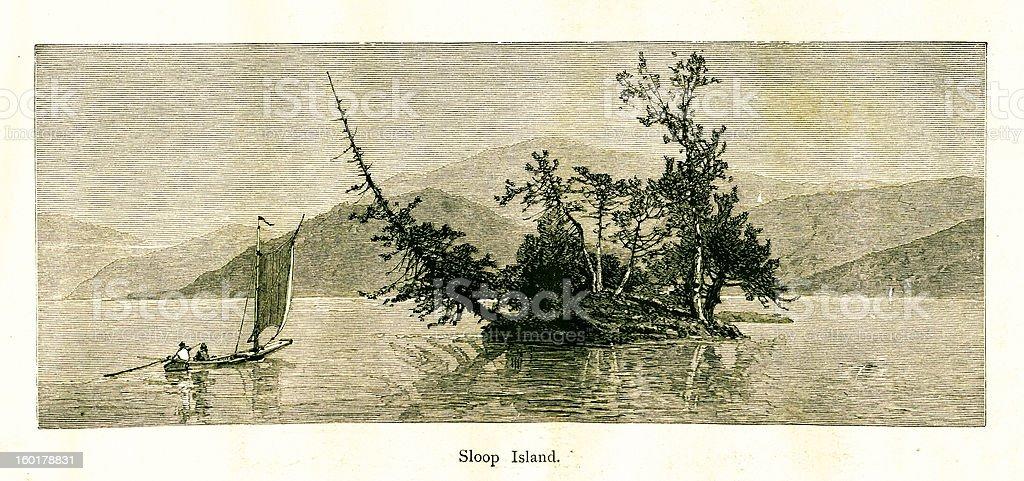 Sloop Island, Lake George, New York vector art illustration