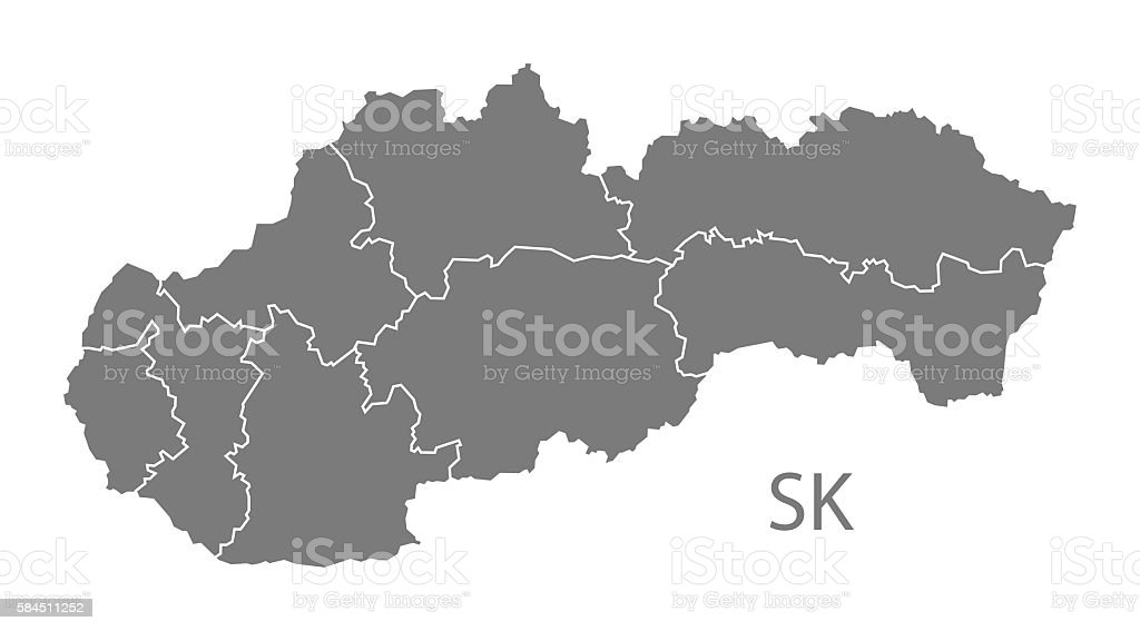 Slovakia districts Map grey vector art illustration
