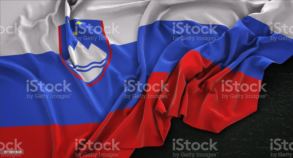 Slovenia Flag Wrinkled On Dark Background 3D Render vector art illustration