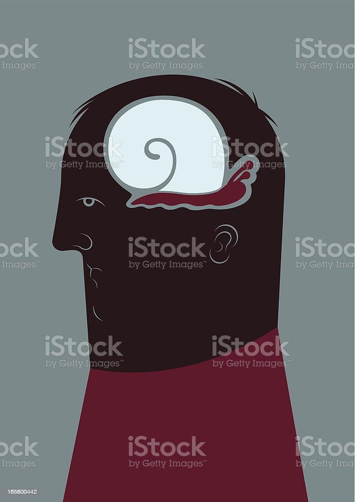 slowly thinking vector art illustration