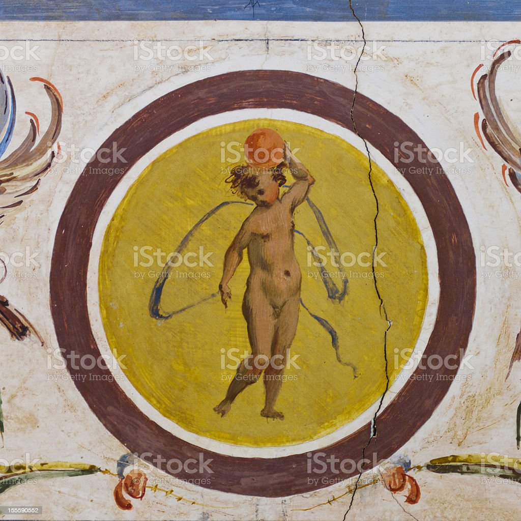 Small angel fresco vector art illustration