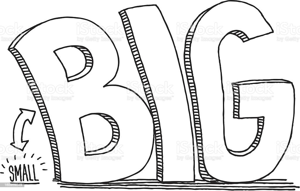 Small big comparison text drawing stock vector art for Small art drawings