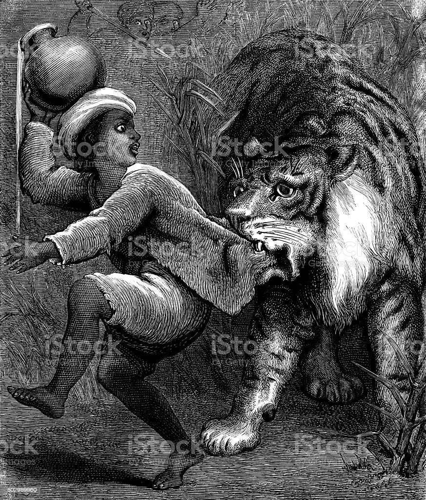 Small boy being scared by a tiger vector art illustration