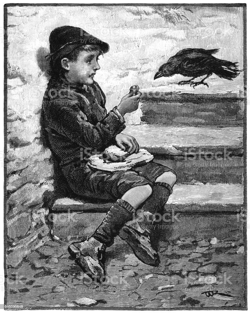 Small boy feeding a jackdaw vector art illustration