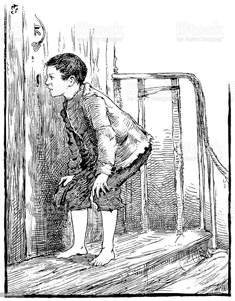 Small boy looking through a keyhole vector art illustration