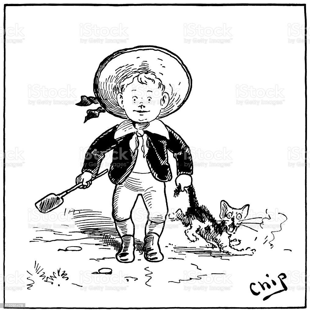 Small boy tormenting a cat vector art illustration