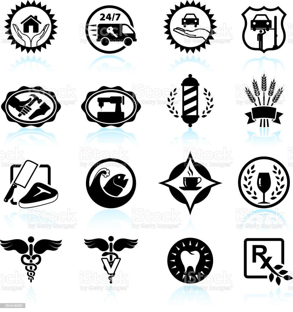 small business badges black & white icon set vector art illustration