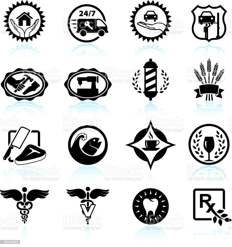 small business badges black & white vector icon set royalty-free stock vector art