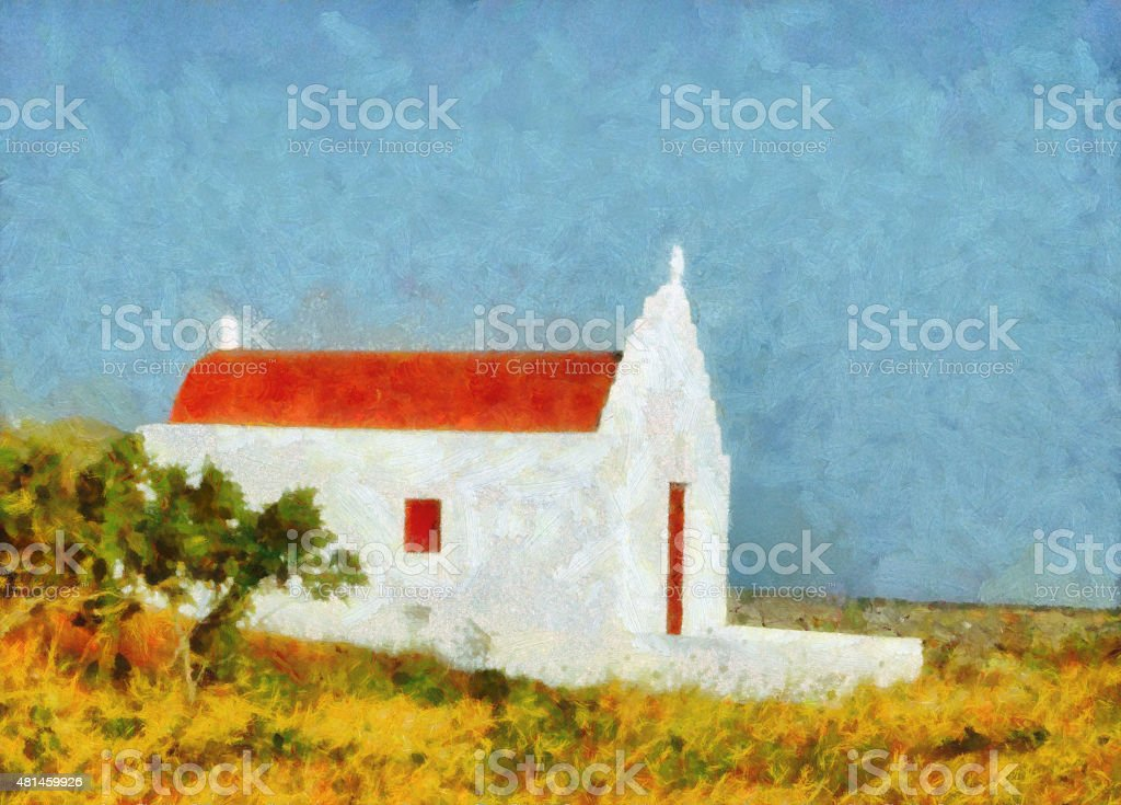 Small Church in Mykonos - Painting vector art illustration