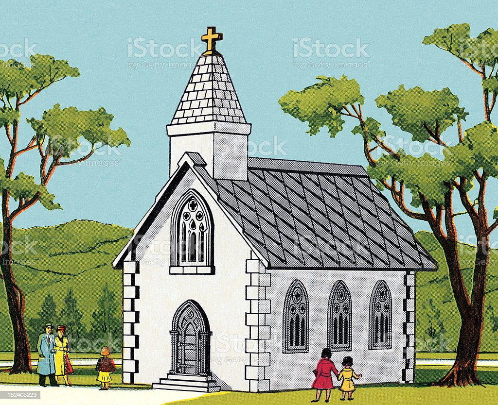 Small Country Church royalty-free stock vector art