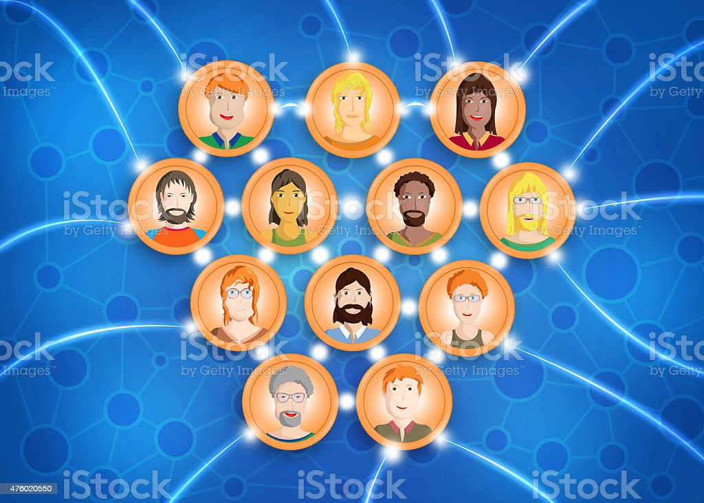 Small group of friends connected in a social network vector art illustration