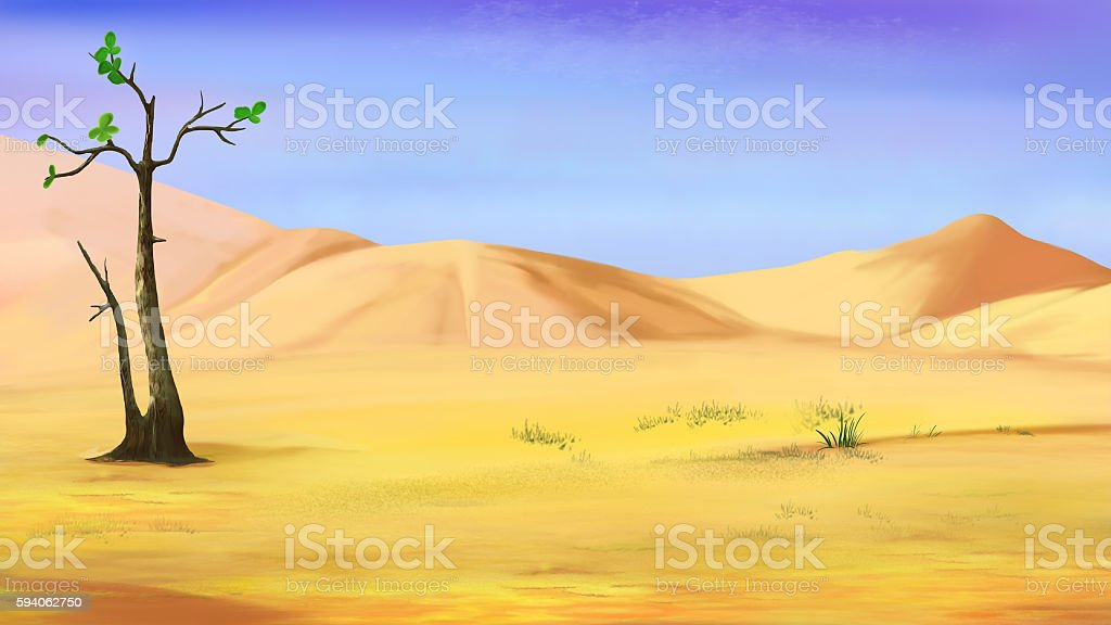 Small Lonely Tree in a Desert vector art illustration