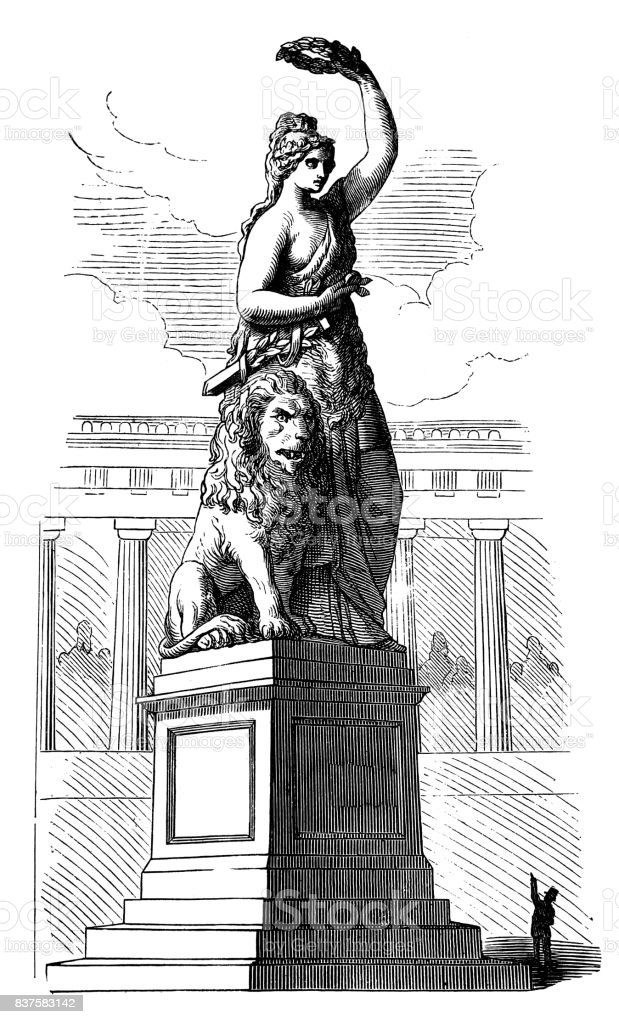 Small man points to a huge antique sculpture - 1867 vector art illustration