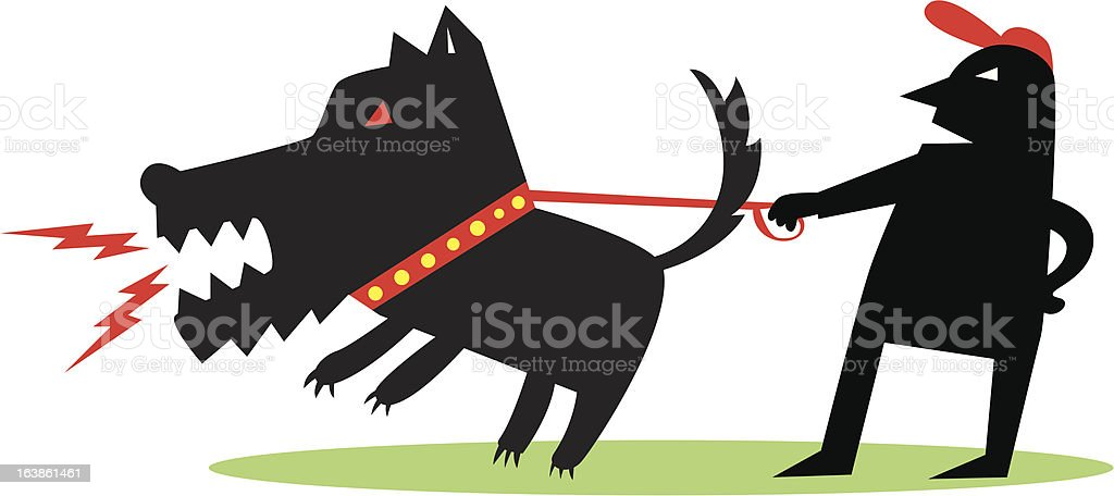 Small man with large fierce dog royalty-free stock vector art