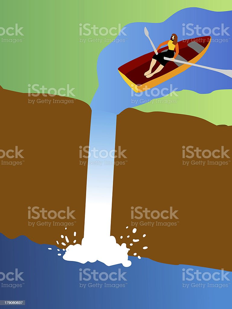small row boat going over a waterfall royalty-free stock vector art
