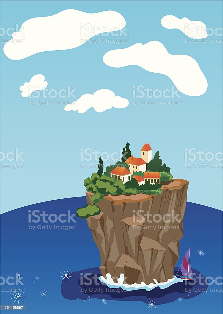 small town on the island royalty-free stock vector art