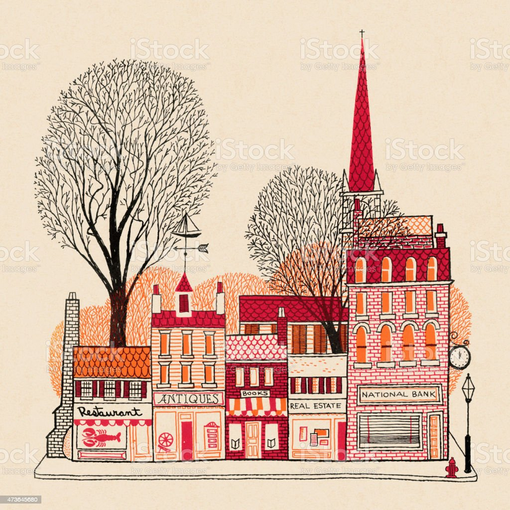 Small Town Street vector art illustration