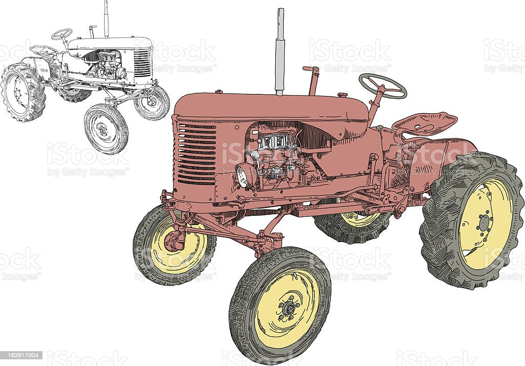 Small Tractor royalty-free stock vector art