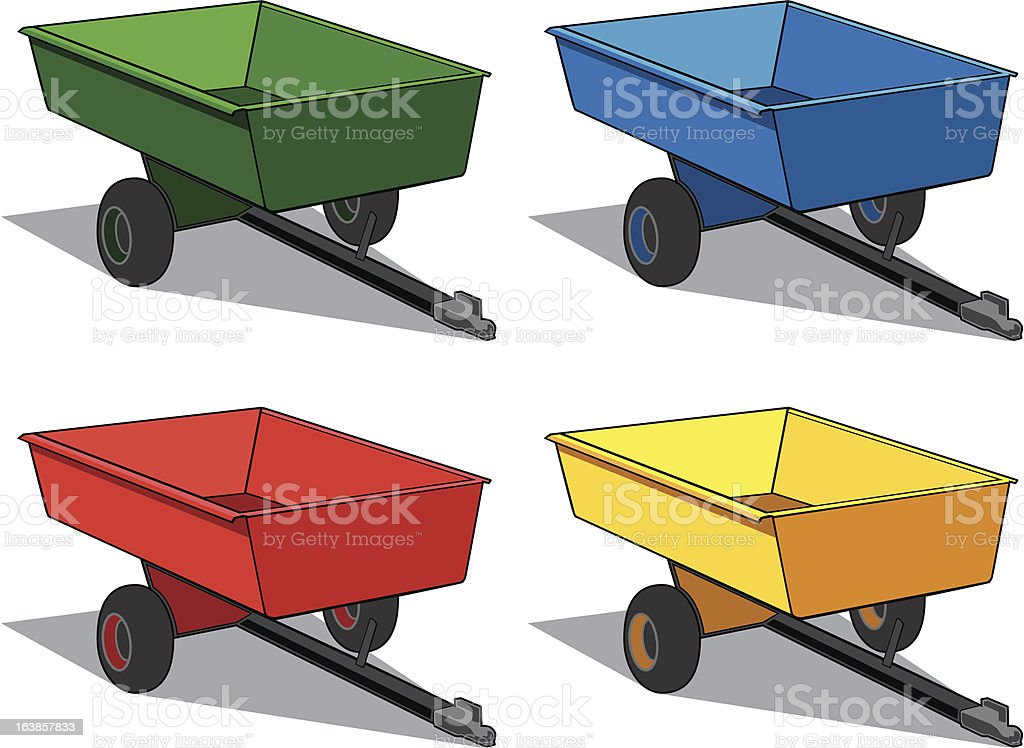 Small utility trailers for use with ATV or UTV royalty-free stock vector art