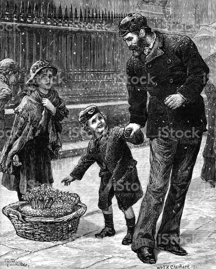 Small Victorian boy asking to buy violets from a young flower-girl vector art illustration