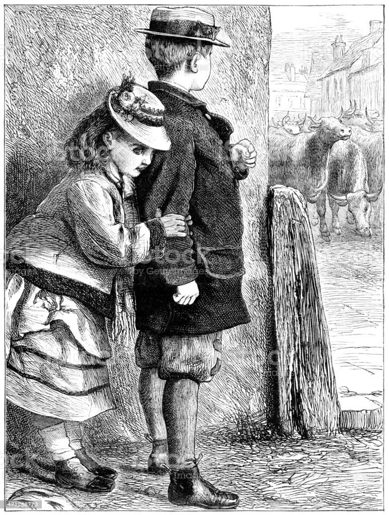 Small Victorian boy protecting girl from a herd of cattle vector art illustration