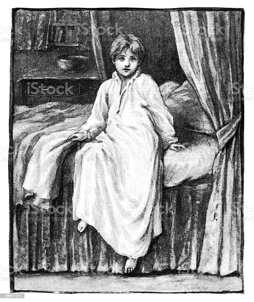 Small Victorian boy sitting on his bed in a night-gown royalty-free stock vector art