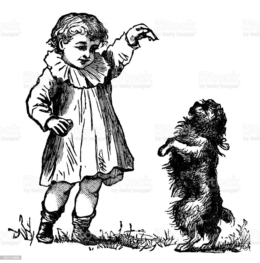 Small Victorian boy with a begging dog vector art illustration