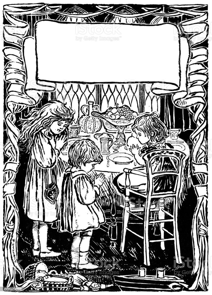 Small Victorian children saying grace before a meal vector art illustration