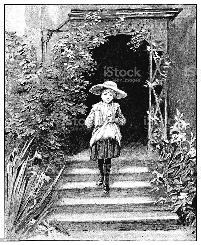 Small Victorian girl carrying a jug royalty-free stock vector art